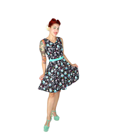 Cat Day of the Dead V-Neck Dress #SD-BC920