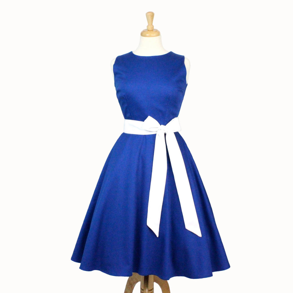 Classic Blue Full Circle Dress with Sash #DSCF4393