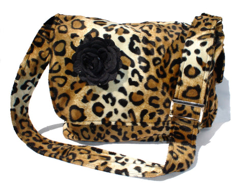 Rockabilly Faux Leopard Bag with Flower #MB521