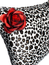 Load image into Gallery viewer, Leopard faux fur Pillow with Red rose #P209