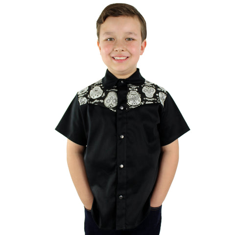 Boy's Black and White Sugar Skulls Western Top #BSSWT