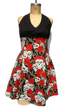 Load image into Gallery viewer, Front side of dress, dress on mannequin, Upper top is black, Bottom composed of printed fabric