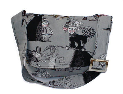Messenger Bag Gray Ghastlies Witches #MB513