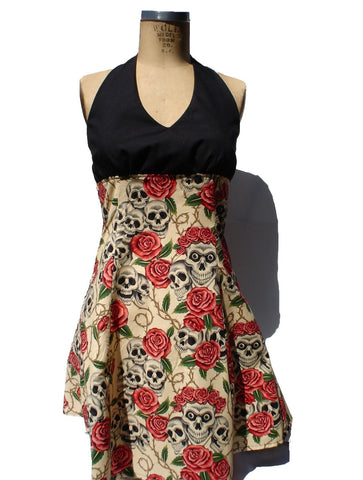 """swing me down""Skulls and Roses Tattoo Art Dress (pink roses) #D-SD731"