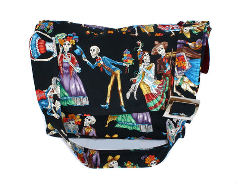 Catrinas Skulls Day Of The Dead Messenger Bag #MB538