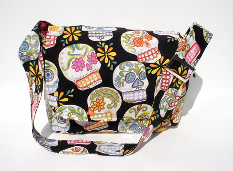 Messenger Bag Day of The Dead Sugar Skull Bag #MB545