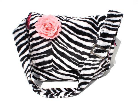 Zebra Print Faux Fur Messenger Bag #MB523