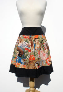Mannequin wearing the skirt, Pictured from far away, A-line skirt