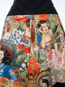 """Riding Shotgun"" Mexican Senoritas Skirt, Close up of fabric print, Images of Western Mexican Vintage Gals wearing traditional Mexican clothing"