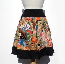 "Load image into Gallery viewer, ""Riding Shotgun"" Mexican Senoritas Skirt, Pictured from the front, Black band at the waist, black band at the bottom of the skirt"