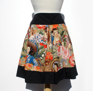 """Riding Shotgun"" Mexican Senoritas Skirt, Pictured from the front, Black band at the waist, black band at the bottom of the skirt"