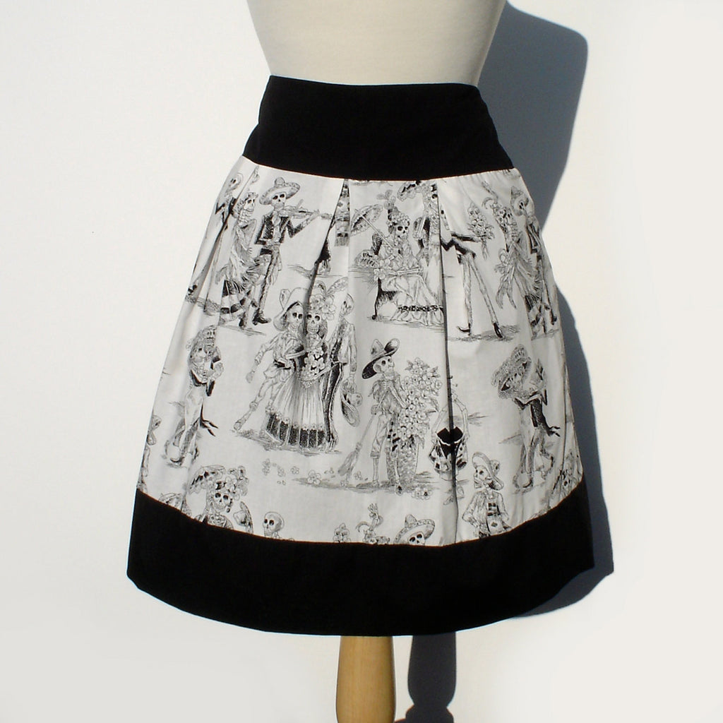 Black and White Catrina Skulls Day of the Dead Skirt #S-RS720