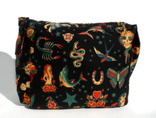 Load image into Gallery viewer, Black Tattoo Art Rockabilly  Messenger Bag #MB507