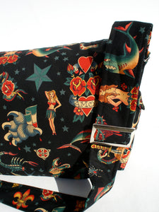 Black Tattoo Art Rockabilly  Messenger Bag #MB507