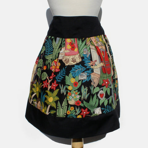 Frida Mexican Inspired Flowers and Animals Skirt Black #S-RS752