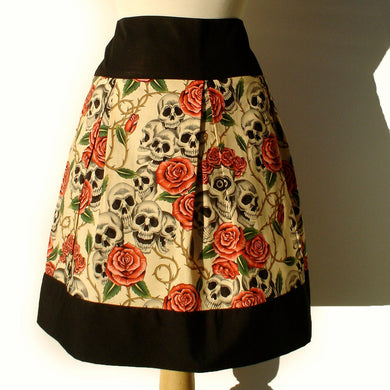 Pinup Skulls and Roses Tattoo Skirt(pink roses) #S-RS731