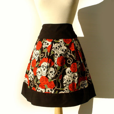 Pinup Skulls and Roses Skirt(red roses) S-RS747