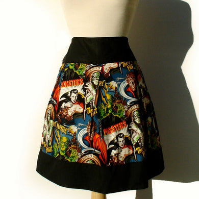 Retro Horror Movie Hollywood Monsters Vintage Inspired Skirt #S-RS712