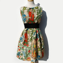 "Load image into Gallery viewer, ""Head Over Wheels"" Frida Kahlo Dress in Beige Front Side"