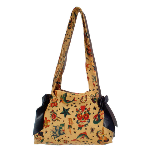 Purse  / Vintage Tattoo Art  Purse with black ribbon bows #B302