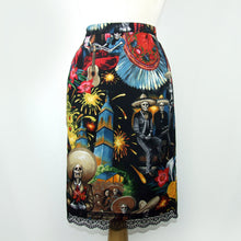 Load image into Gallery viewer, Mexican Fiesta De San Marcos Skull Pencil Skirt #S-PP706