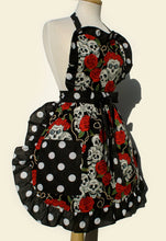Load image into Gallery viewer, Skulls and Roses black polka dot Apron #A904