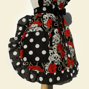Skulls and Roses black polka dot Apron #A904