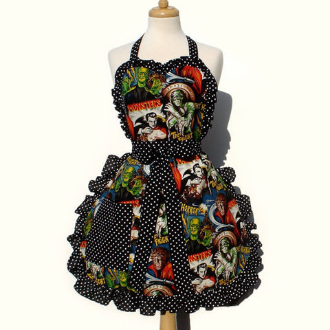 Retro Horror Movie Hollywood Monsters Vintage Inspired Apron #A908
