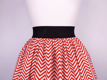 Load image into Gallery viewer, Red and White Chevron Stripes Pleated Skirt # S-AP776