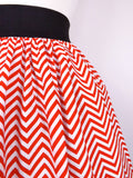 Red and White Chevron Stripes Pleated Skirt # S-AP776