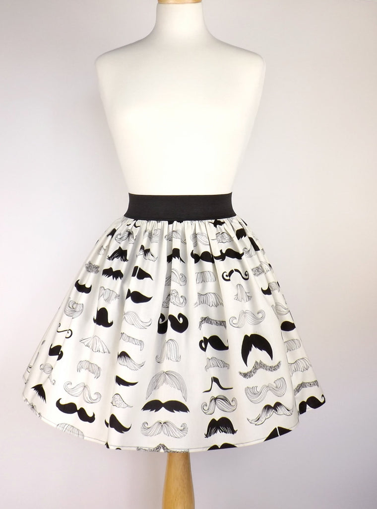 Black & White Mustache Pleated Skirt # S-AP777