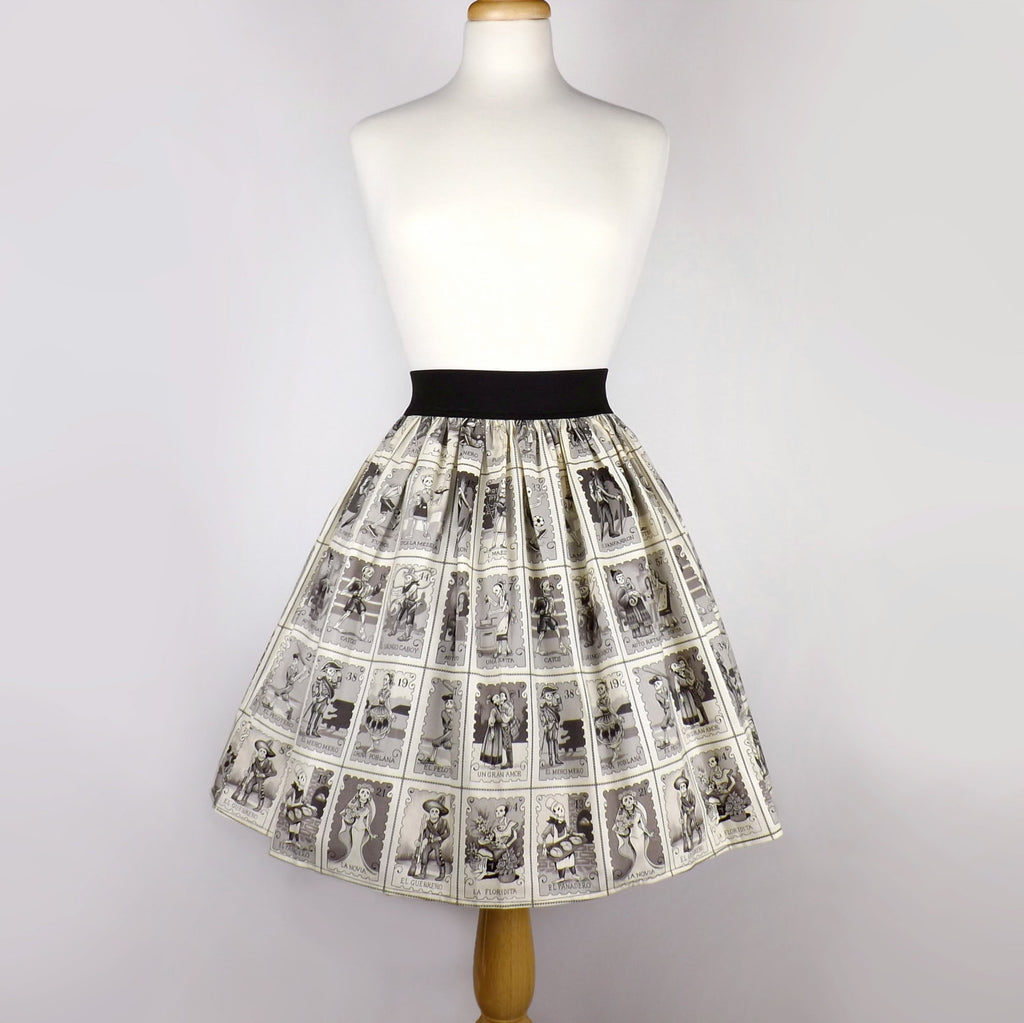Black & White Cartas Marcadas Folklorico Day of the Dead Full Skirt #S-AP775