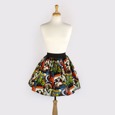 Pinup Hollywood Monsters A-line pleated Skirt #S-AP712
