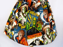 Load image into Gallery viewer, Pinup Hollywood Monsters A-line pleated Skirt #S-AP712