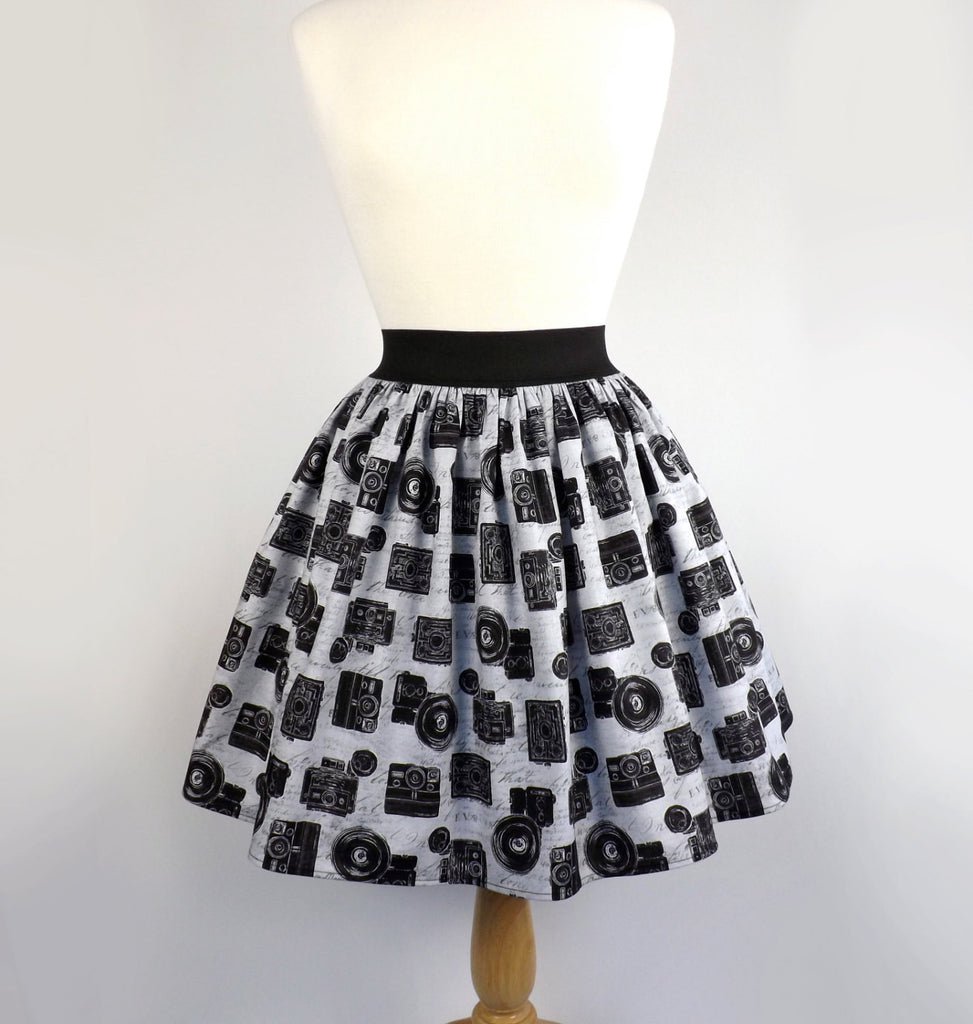Black and Gray Retro Cameras Aline Skirt #PS-C11