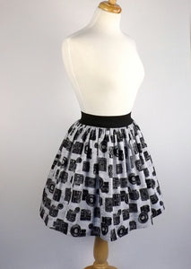 Skirt on mannequin, Pictured from the side