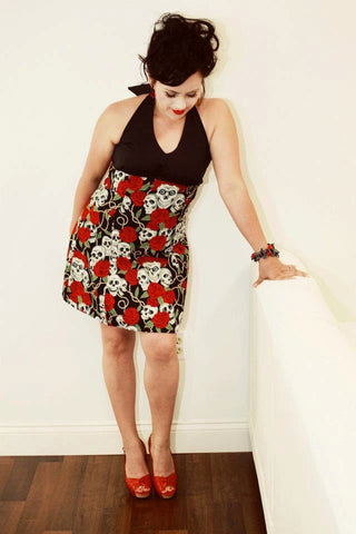 """swing me down""Skulls and Roses Rockabilly Inspired Dress (red roses) #D-SD747"