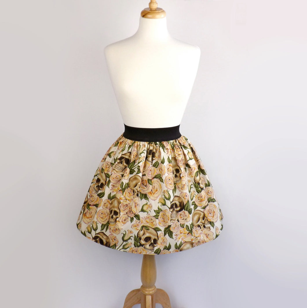 Skulls and Roses pleated skirt #S-AP801