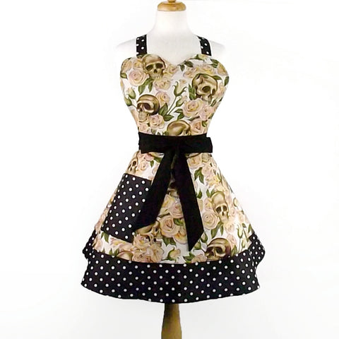 Sweetheart Cream Skulls and Roses 2 Tier Apron #A824