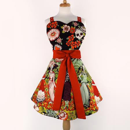 Frida and Catrinas Sweetheart Apron #A863