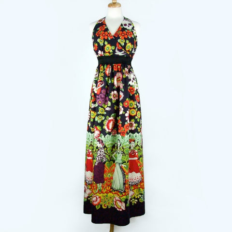 Mexican Print Maxi Dress / Frida Day of the Dead Long  Dress #D-MD905