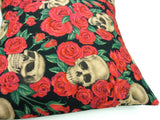 Black and Red  Skulls and Roses Pillow Cover Pillow Case 18 x 18 #P235