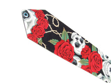 Load image into Gallery viewer, Skulls and Roses Day of the Dead Necktie, Mens tie #T-904