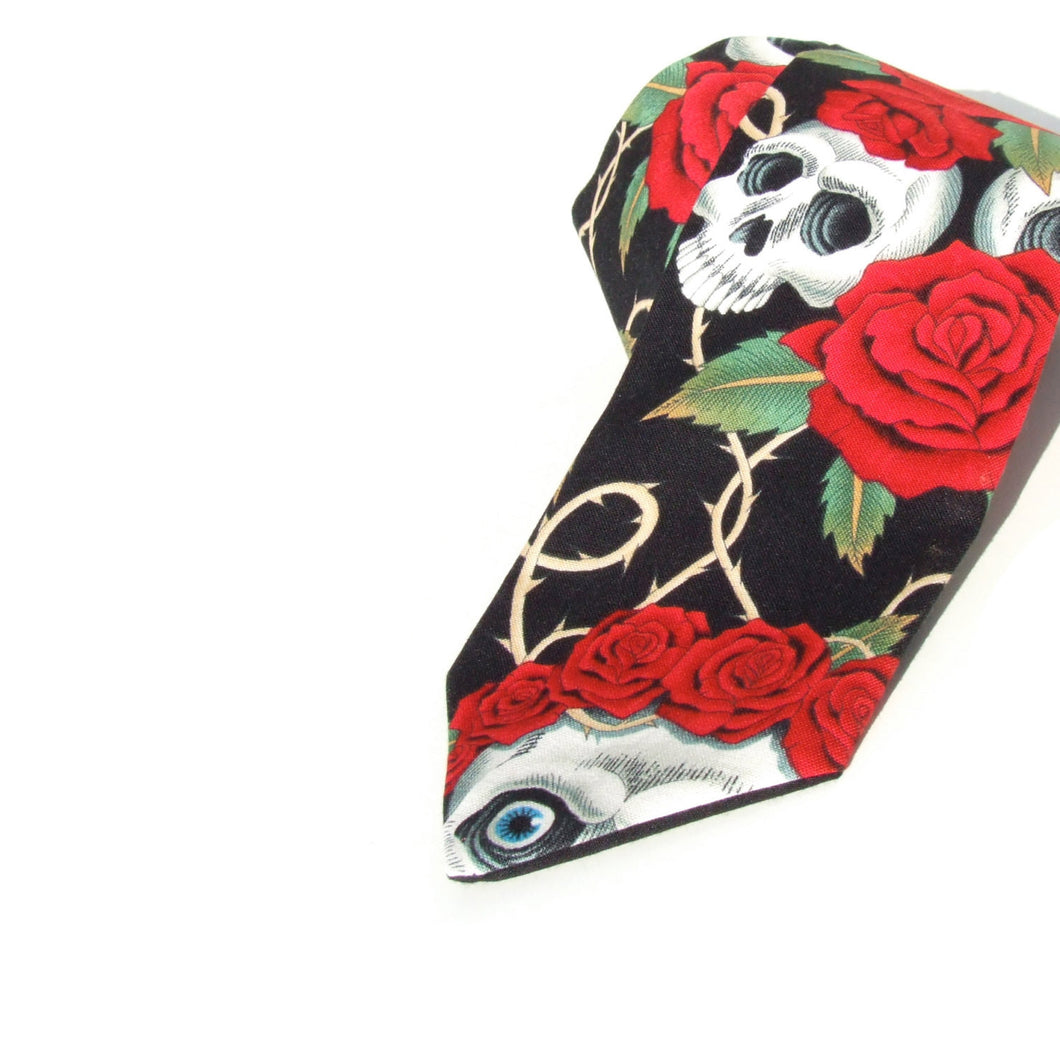Skulls and Roses Day of the Dead Necktie, Mens tie #T-904