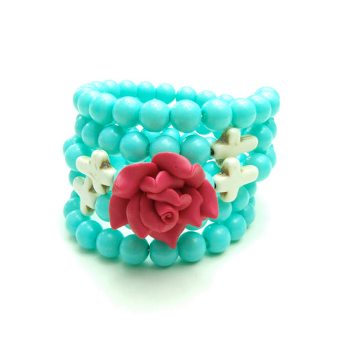 Colorful Rose Wrap Around Memory Turquoise Cross Bracelet, Jewelry #B-BC136
