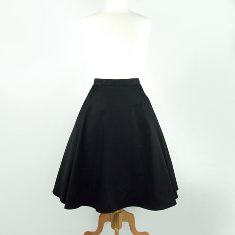 Black  Full  Circle  Skirt #FS-B643