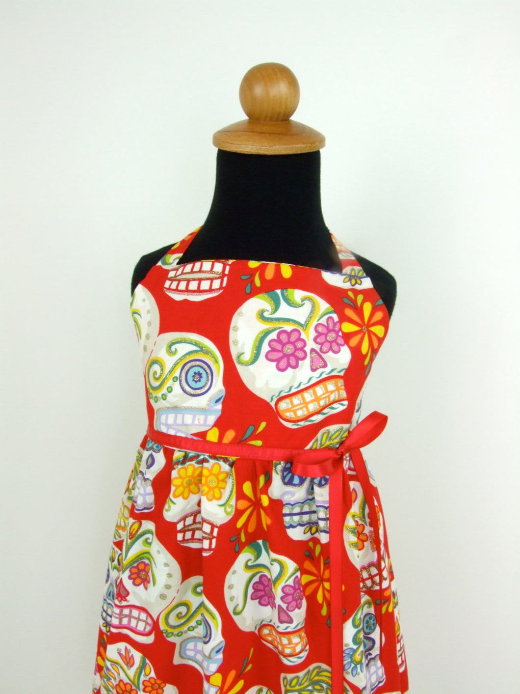 Girls  Red Sugar Skulls Dress #GD-SS847