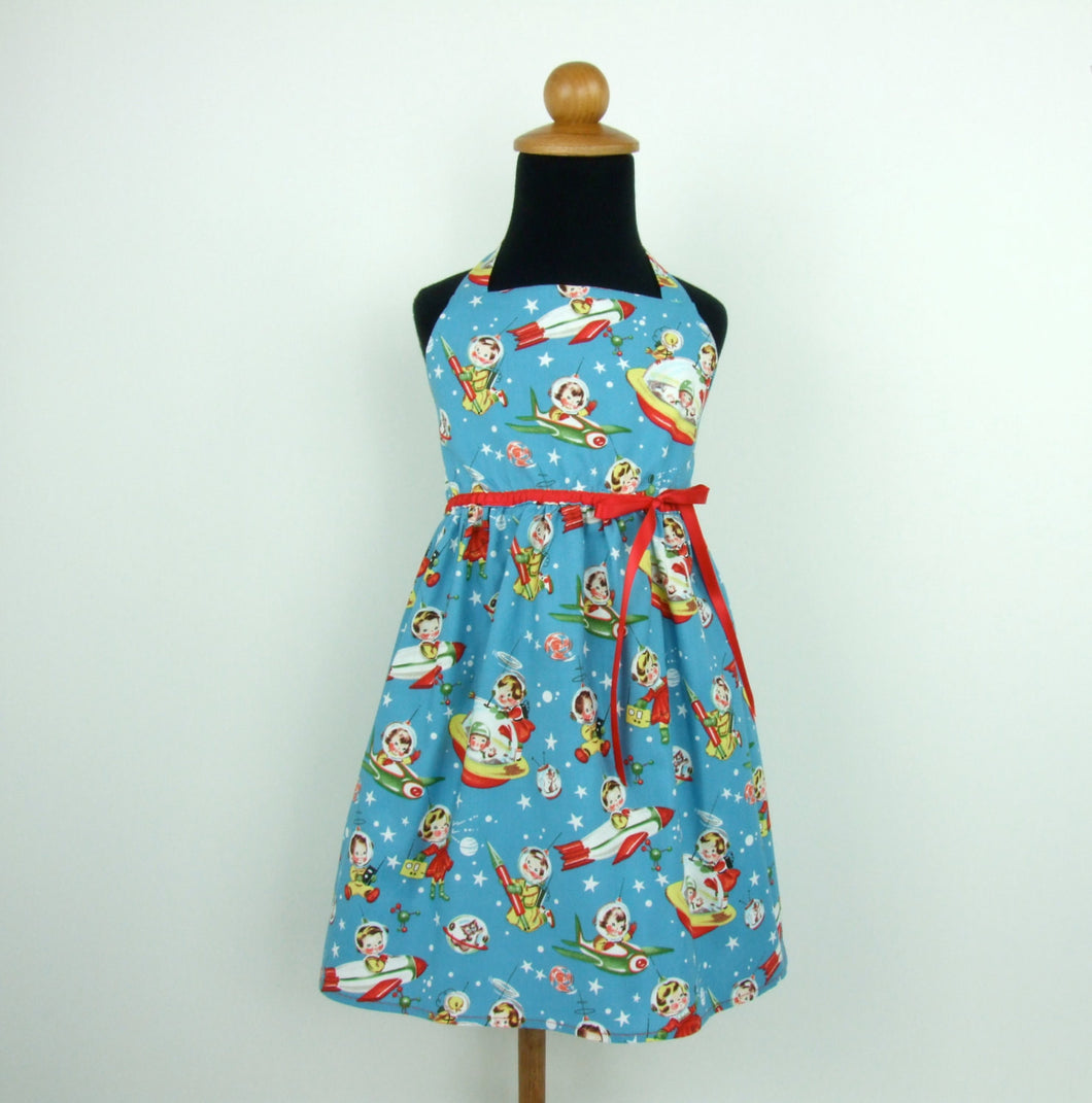 Vintage Inspired  Blue Spaceship Girl's Dress #GD-BS423