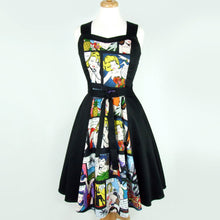 Load image into Gallery viewer, Comic Black Full Circle Swing  Vintage Inspired Dress #DSCF4335