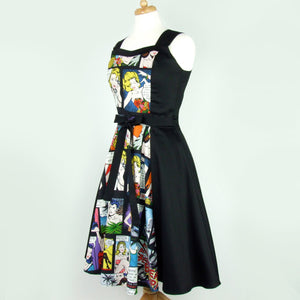 Comic Black Full Circle Swing  Vintage Inspired Dress #DSCF4335